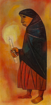 Eduardo Kingman (1913-1997) Untitled Oil on canvas 47 x 23 inches (119.4 x 58.4 cm) Signed and