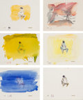 Works on Paper, Cecily Brown (b. 1969). Four Letter Heaven (six animation cells), 1995. Mixed media on paper, each. 5 x 6 inches (12.7 x...