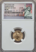 Modern Bullion Coins, 2015 $5 Tenth-Ounce Gold Eagle, Narrow Reeds, MS69 NGC. PCGS Population: (21/33). ...
