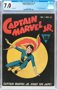 Captain Marvel Jr. #1 (Fawcett Publications, 1942) CGC FN/VF 7.0 Light tan to off-white pages