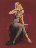 Mainstream Illustration, Jules Erbit (American, 1889-1968). Seated Pin-Up in PurpleChair. Pastel on board. 37 x 28.5 in.. Signed lower left. ...
