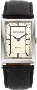 Timepieces:Wristwatch, Patek Philippe & Co. Early White Gold Wristwatch For Brock & Co., circa 1925. ...