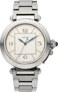 Timepieces:Wristwatch, Cartier Large Steel Pasha Automatic Ref. 2730. ...
