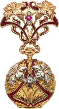 Patek Philippe & Cie Rare & Very Fine Enamel, Gold, Ruby & Diamond Pendant Watch, circa 1905