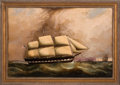 """Transportation:Nautical, Large Circa 1850 """"Queen of the West"""" Nautical Painting...."""