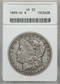 Morgan Dollars: , 1893-CC $1 VF25 ANACS. NGC Census: (219/2655). PCGS Population: (265/5289). Mintage 677,000. ...