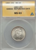 Coins of Hawaii , 1883 25C Hawaii Quarter, Repunched Date MS63 ANACS. NGC Census:(205/517). PCGS Population: (324/683). CDN: $325 Whsle. Bid...