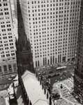 Photographs, Berenice Abbott (American, 1898-1991). Trinity Church and Wall Street Towers, 1934. Gelatin silver, printed 1950s to mid...
