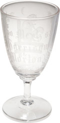 Political:3D & Other Display (pre-1896), Benjamin Harrison: Outstanding Acid-Etched Blown Glass CampaignGoblet....