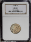 Buffalo Nickels: , 1918 5C MS65 NGC. Golden and mint-green toning is seen over eachside of this highly lustrous and well struck early P-mint....