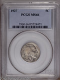 Buffalo Nickels: , 1927 5C MS66 PCGS. Pleasing throughout with satin luster in theundisturbed fields, a razor-sharp strike, and relatively fe...