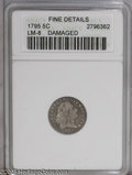 Early Half Dimes: , 1795 H10C --Damaged--ANACS. Fine Details. V-5, LM-8, R.3. A grainycharcoal-gray Flowing Hair Half Dime that exhibits modera...