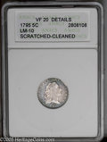 Early Half Dimes: , 1795 H10C VF20 ANACS. V-4, LM-10, R.3. The variety is confirmed bythe presence of a single outer berry below the eagle's l...