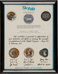 Explorers:Space Exploration, Skylab Manned Flight Awareness Medal containing Flown Metal withCertificate Awarded to NASA Aerospace Engineer Donald T. Hami...