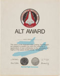 Explorers:Space Exploration, Enterprise Approach and Landing Test (ALT) Manned FlightAwareness Medal containing Flown Metal with Certificate Award...