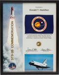 Explorers:Space Exploration, Space Shuttle Discovery (STS-26) Flown NASA Flag onPresentation Certificate Awarded to NASA Aerospace Engineer Do...