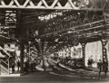 """Photographs, Berenice Abbott (American, 1898-1991). Under the """"El"""" at the Battery, New York, 1936. Gelatin silver. 6-7/8 x 9-1/8 inch..."""