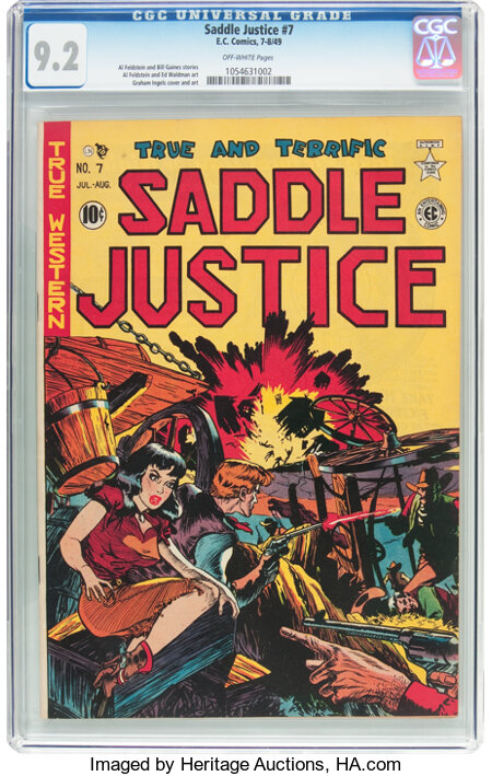 Saddle Justice #7 (EC, 1949) CGC NM- 9.2 Off-white pages....