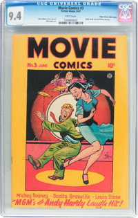 """Movie Comics #3 """"Love Laughs at Andy Hardy"""" Mile High Pedigree (Fiction House, 1947) CGC NM 9.4 White pages..."""