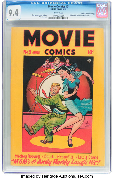 """Movie Comics #3 """"Love Laughs at Andy Hardy"""" Mile High Pedigree (Fiction House, 1947) CGC NM 9.4 White pages...."""