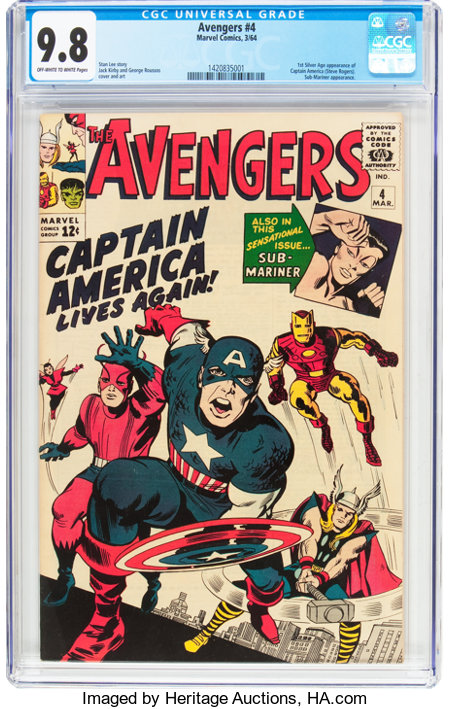 The Avengers #4 (Marvel, 1964) CGC NM/MT 9.8 Off-white to white pages....