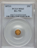 California Fractional Gold , 1872/1 25C Indian Octagonal 25 Cents, BG-790, R.3, MS63 PCGS. PCGSPopulation: (46/85). NGC Census: (6/6). ...