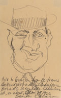 Fine Art - Work on Paper:Drawing, Alexander Calder (1898-1976). Portrait of George Seldes,1926. Pencil on paper. 8-3/4 x 5-1/4 inches (22.2 x 13.3 cm) (s...