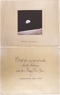 "Explorers:Space Exploration, Captain & Mrs. James A. Lovell Christmas Card with ""Earthrise""Photo...."