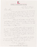 Autographs:Celebrities, James 1995 Lovell Autograph Letter Signed to His Cousin RegardingFamily Matters. ... (Total: 4 )