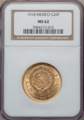 Mexico, Mexico: Estados Unidos gold 20 Pesos 1918 MS62 NGC,...