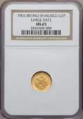 Mexico, Mexico: Republic gold Peso 1901/801 Mo-M MS65 NGC,...