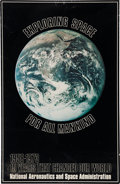 "Explorers:Space Exploration, NASA Rare ""Exploring Space For All Mankind"" Fifteenth AnniversaryPoster (1973) with Apollo 17 ""Blue Marble"" Photo...."