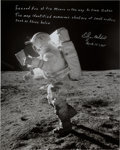 Autographs:Celebrities, Edgar Mitchell Signed Large Apollo 14 Lunar Surface Photo....