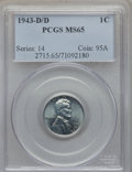 Lincoln Cents: , 1943-D/D 1C MS65 PCGS. PCGS Population: (46/36). CDN: $800 Whsle. Bid for problem-free NGC/PCGS MS65. ...