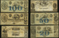 Obsoletes By State:Louisiana, LA- Lot of 6 New Orleans Canal & Banking Company Higher Denomination Remainder Notes. . ... (Total: 6 notes)
