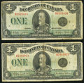 Canadian Currency: , Canada DC-25n $1 1923 Two Examples.. ... (Total: 2 notes)