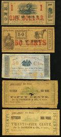 Obsoletes By State:Louisiana, LA- Lot of 5 New Orleans Civil War Scrip Notes. . ... (Total: 5 notes)