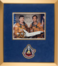 Autographs:Celebrities, Space Shuttle Columbia (STS-1) Crew-Signed Color Photo withNovaspace COA, in Framed Display with Mission Insignia...