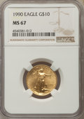 Modern Bullion Coins: , 1990 $10 Quarter-Ounce Gold Eagle MS67 NGC. NGC Census: (7/2282). PCGS Population: (30/1090). ...