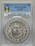 Anguilla, Anguilla: Provisional Government Countermarked Liberty Dollar 1967AU58 PCGS,...