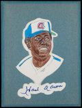 Baseball Collectibles:Others, Hank Aaron Signed Original Artwork by Bob Wright....