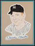 Baseball Collectibles:Others, Mickey Mantle Signed Original Artwork by Bob Wright....