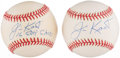 Autographs:Baseballs, Jim Kaat Single Signed Baseballs Lot of 2 - With Inscription. ...