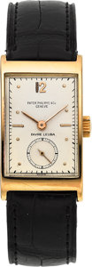 Timepieces:Wristwatch, Patek Philippe Geneve Vintage Gold Rectangular Wristwatch, circa 1940. ...