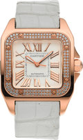 Timepieces:Wristwatch, Cartier Santos 100 18k Rose Gold Diamond Wristwatch Ref. 2879. ...