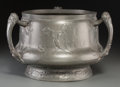 Decorative Arts, Continental, Kayserzinn Pewter North Wind Jardinière. Circa 1900. Ht.9-1/2 x 14 in.. PROPERTY FROM THE COLLECTION OF BILL ...