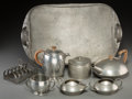 Decorative Arts, British, Eight-Piece Liberty & Co. Tudric Pewter Breakfast Group. Circa 1910. Stamped TUDRIC, PEWTER, MADE IN ENGLAND, (various). Ht.... (Total: 8 Items)