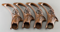 Four Art Nouveau Bronze Curtain Rod Sabots attributed to Hector Guimard Late 19th-early 20th century. L. 8 in