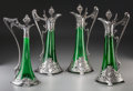 Silver Holloware, Continental, Four WMF Art Nouveau Silver-Plated Green Glass Clarets. Circa 1910.Stamped WMF, (various marks). Ht. 16 in.. PROPERTY FRO... (Total: 4Items)