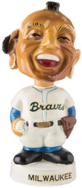 Baseball Collectibles:Others, 1961-63 Milwaukee Braves White Base Mini Nodder. ...
